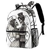 XiangHeFu Mochila pequeña para niñas niño al aire libre a pie bolsa de viaje mochila escolar Skulll sobre el matrimonio de la boda Mochila estampada