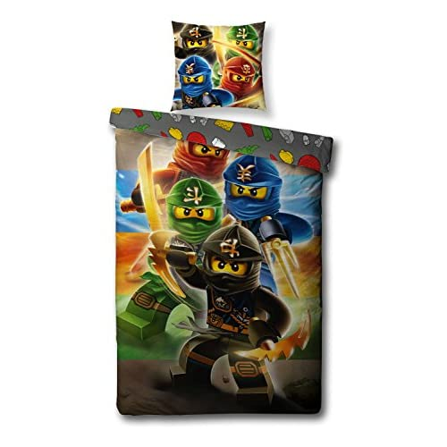 Familando Set biancheria da letto reversibile Lego Ninjago (135x200cm e 80x80cm)
