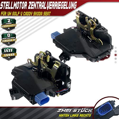 2X Türschloss hinten Links rechts für Seat Toledo 5P Octavia 1Z Caddy 2K 2C Golf Plus 5M V 1K1 Variant 1K5 Jetta 1K2 Touran 1T Touareg 7L 2002-2015 7L0839015