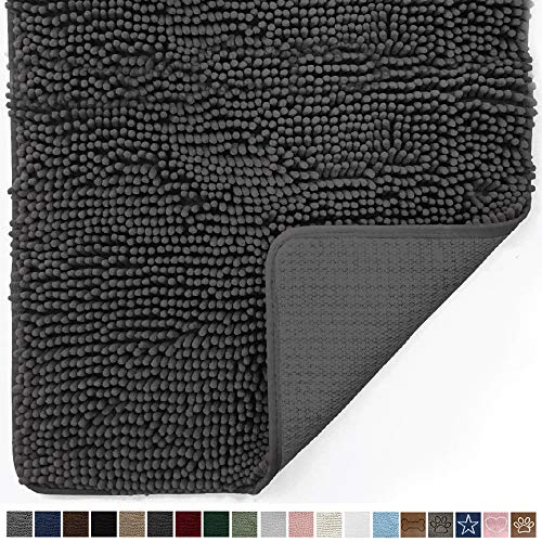 Gorilla Grip Original Indoor Durable Chenille Doormat, Large, 36x24, Absorbent, Machine Washable Inside Mats, Low-Profile Rug Doormats for Entry, Back Door, Mud Room, High Traffic Areas, Charcoal