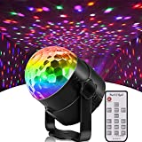 Disco Party Lights, Sound Activated Strobe Light Stage Light with Remote Control, 6 Colors RGB 7 Modes Disco Ball Light, Strobe Lamp for Home Room Dance Parties Bar Karaoke Xmas Wedding Show Club