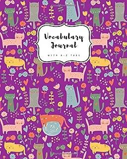 Vocabulary Journal with A-Z Tabs: 8x10 Large 2 Columns Notebook   Alphabetical Index   Cute Kitten Flower Design Purple