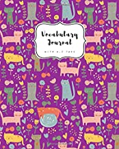 Vocabulary Journal with A-Z Tabs: 8x10 Large 2 Columns Notebook | Alphabetical Index | Cute Kitten Flower Design Purple