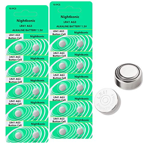 Nightkonic 20 pcs Pack LR41 AG3 SR41 392 384 192 Battery 1.5V Button Coin Cell Batteries for thermometers
