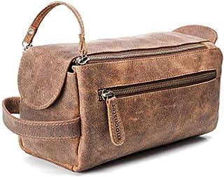 Kulturbeutel/Kulturtasche für Herren von moonster | Handgemachtes Necessaire aus echtem Leder | Robuste, kompakte und praktische Reise-Waschtasche mit Fächern u. großem Stauraum