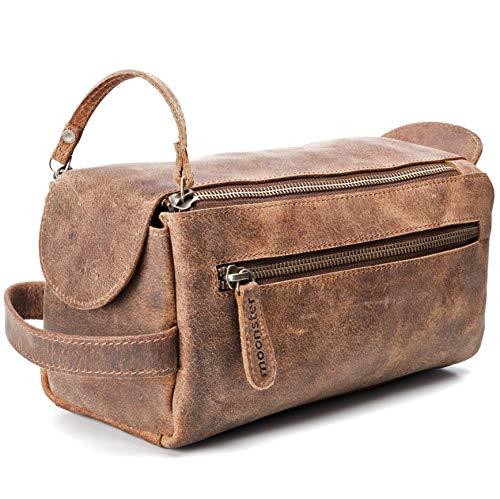 Kulturbeutel / Kulturtasche für Herren von moonster | Handgemachtes Necessaire aus echtem Leder | Robuste, kompakte und praktische Reise-Waschtasche mit Fächern u. großem Stauraum