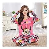 YUNGYE Le Donne Pajamas Set del Fumetto della Ragazza degli Indumenti Pijama Lungo Pigiami delle Donne del Vestito Femminile Coprono Insieme da Notte (Color : Minnie, Size : XXL)