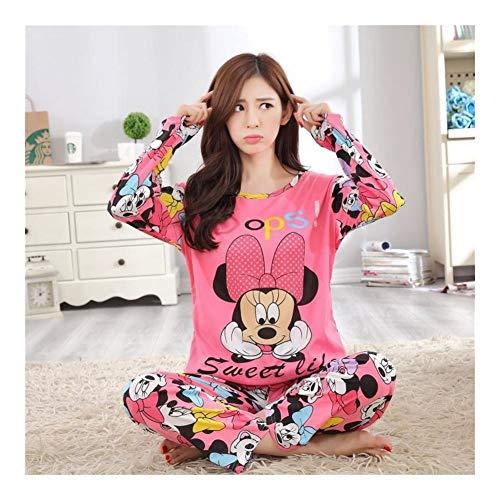 YUNGYE Las Mujeres Pijamas Set Muchacha De La Historieta Ropa De Noche Pijama Largo De Las Mujeres Pijama Traje De Mujer Ropa Conjunto Ropa De Dormir (Color : Minnie, Size : XL)