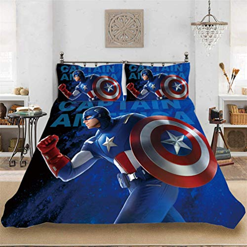 The Avengers Duvet Cover Bedding Set - Duvet Cover and Pillowcase, Microfibre, 3D Digital Print Three-Part Bedding, Children, 11, 230 * 260cm