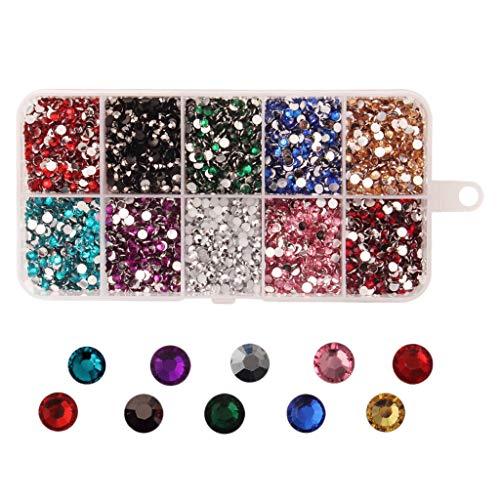 P Prettyia 9000x Flatback Strass Résine Gemmes Diamants de Dοs Plat pour Scrapbooking, Art des Ongles, Maquillage