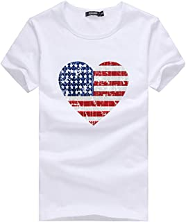 DAYPLAY Women's Flag Printed Short Sleeve T-Shirt Top Fashion Loose Summer Ladies Tee for Fourth of July Blouse Sale