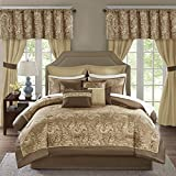 Madison Park Essentials Brystol 24 Piece Room in a Bag Faux Silk Comforter Jacquard Paisley Design Matching Curtains Down Alternative Hypoallergenic All Season Bedding-Set, King(104'x92'), Brown