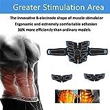 Electroestimulador Muscular Abdominales, EMS Estimulador Muscular Abdominales Cinturón, ABS Trainer Muscular USB Recargable para Bdomen/Brazo/Piernas/Glúteos,Almohadillas de Gel 16pcs