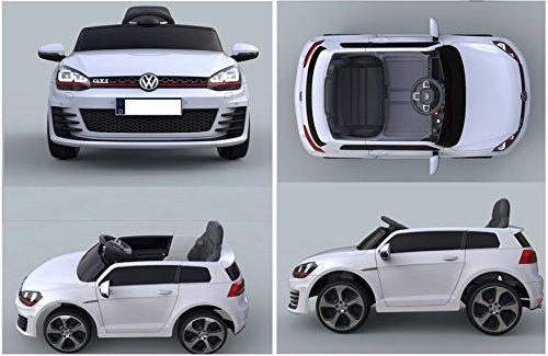 RC Auto kaufen Kinderauto Bild 2: ES-TOYS Kinderfahrzeug - Elektro Auto VW Golf 7 GTI - lizenziert - 12V7AH Akku,2 Motoren- 2,4Ghz Fernsteuerung, MP3-Weiss*
