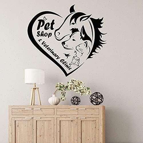 Calcomanía de pared, tienda de mascotas, clínica veterinaria, decoración interior, logotipo, cuidado de animales, corazón, puerta, ventana, pegatinas de vini 56x62cm