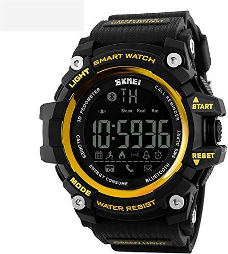 Reloj deportivo para hombre, multifunción, electrónico, podómetro, recordatorio de llamadas, conexión Bluetooth, sumergible hasta 50 m, color amarillo