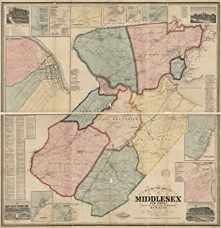 1861 Map of The County of Middlesex, New Jersey : from Actual surveys - Size: 24x24 - Ready to Frame