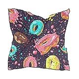 QMIN Seidenschal, quadratisch, bunt, glasiert, Donut-Muster, modisch, leicht, Haarband, ordentliche Halstuch, für Damen, 60 x 60 cm