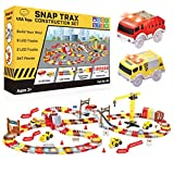 USA Toyz Snap Trax Construction Set - STEM Building Bendable LED Race Tracks and LED Toy Trucks Construction Set with Light Up Race Tracks and 2 Light Up Toy Cars (247 Pieces)
