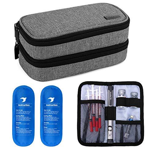Yarwo Kühltasche für Insulin, Diabetes Zubehör Tasche, Diabetikertasche für Diabetes Spritzen, Insulininjektion Aufbewahrungstasche mit 2 Kühlakkus, Mittel, Grau