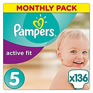Pampers Active Fit 136 Nappies with Absorbing Channels, 11 - 23 kg, Size 5 (B00AFA598S) | Amazon price tracker / tracking, Amazon price history charts, Amazon price watches, Amazon price drop alerts