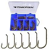 THKFISH 60 Stück Angelhaken Fishing Set Tintenfisch Octopus Baitholder Dropshot Haken Angeln mit öse Angler fischen zubehör wurmhaken#1 1/0 2/0 3/0 4/0 5/0