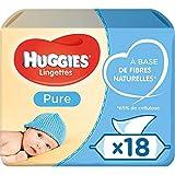 Huggies, Lingettes bébé, Pour tout le corps, Utilisables dès la naissance, Sans parfum, 18...