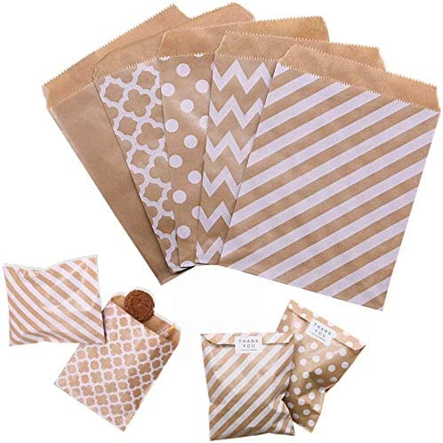 Susuntas 125PCS Kraft Paper 5 ☆ very popular Bags Packing Pouc Candy Biscuit Ranking TOP10