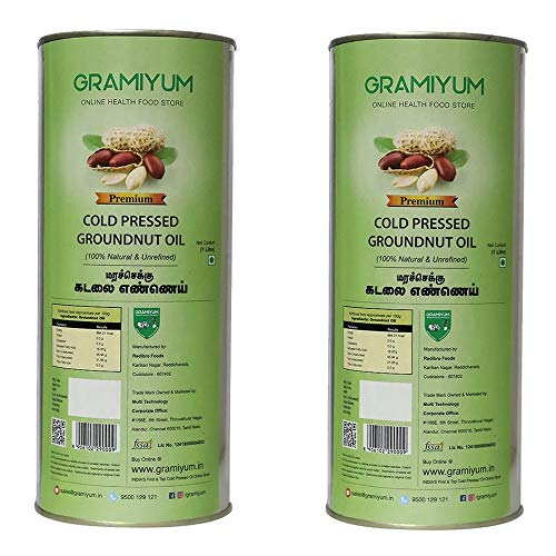 Gramiyum Cold Pressed / Wood Pressed Groundnut Oil 1 Litre X 2 Packs