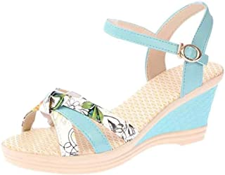 Inlefen Women Summer Sandals Floral Sandals Platform Toe Buckle Sandals Shoes