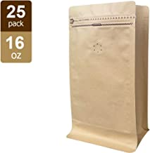 Coffee Bags 1 Lb - Kraft Paper Stand up Pouches Bags with Valve - 16oz (25 Pieces) (25, 1lb / 16oz)