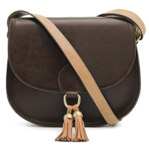 ECOSUSI Saddle Shoulder Bags Purse Vintage Crossbody Bag for Women with Tassels, Coffee