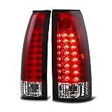 VIPMOTOZ Premium LED Tail Light Lamp For 1988-1999 Chevy GMC C/K 1500 2500 3500 Pickup - Rosso Red Lens, Driver and Passenger Side