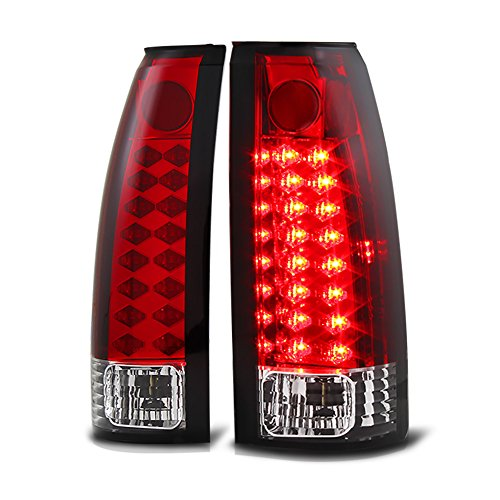 VIPMOTOZ Premium LED Tail Light Lamp For 1988-1999 Chevy GMC C/K 1500 2500 3500 Pickup - Rosso Red Lens, Driver and Passenger Side