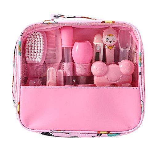 Mentin Baby Pflegeset | 13-teiliges Baby Pflege Produkte | Baby Pflegeset Erstausstattung | Nagel und Nasen Pflege mit Tasche mit Handtasche (Rosa)