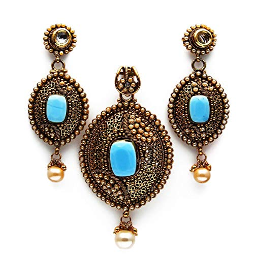 JewelryGift Ethnic Pendant Set with Earrings Drop Pearl, Crystal Studded Oxidized Gold Plated Fancy Designer Jewellery Fashion for Women and Girls