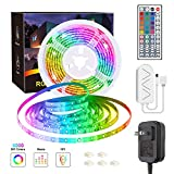 Speclux 16.4ft LED Strip Lights, SMD 5050 Flexible LED Lighting Strip, Music Sync Light Strip with 44Key Remote, Color Changing LED Rope Lights with 12V UL Listed Adapter for Party, Home Decoration