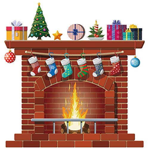 Weihnachten Kamin Wand Aufkleber, Winter Deko Wandsticker Wandtattoo Wandaufkleber DIY Weihnachtsdeko Wanddeko für Türen,Schaufenster, Vitrinen,Glasfronten