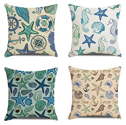 JOVEGSRVA Juego de 4 fundas de cojín de estrella de mar azul, impermeables, para patio, jardín, banco, sala de estar, sofá, decoración de 45 x 45 cm