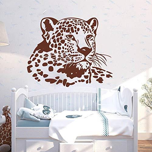 Ofomox Cabeza de Leopardo Grande Gato Grande Pegatinas de Pared de Animales Dormitorio Sala de Juegos Leopardo Safari Pegatinas de Pared de Animales Habitación de niños Vinilo Decoración69cmcmx56cm