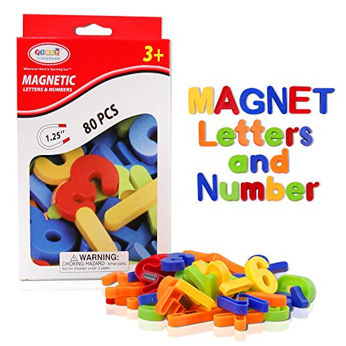 Magnetic Letters, HCFGS 80PCS Alphabet Magnets Educational Magnetic Letters and Numbers for Toddlers ABC Magnets Fridge Magnetic Toys