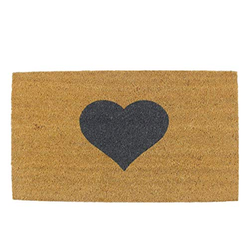 Maine Furniture Co - Felpudo (40 x 70 cm), diseño de corazón, Color marrón