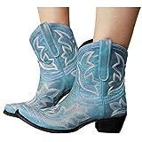 Binggong Botines de mujer de Cowboy Boots Chunkyrayan Vintage para mujer, antideslizantes, de tacón bajo, botas de equitación, botas de media altura