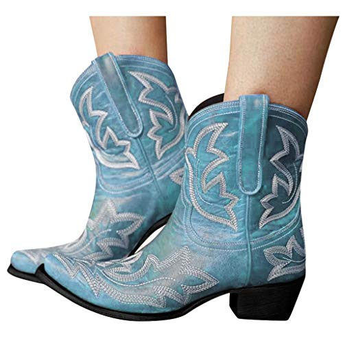 LIANGJIANG Womens Ankle Boots, 2021 Fashion Womens Slip-On Leather Round Toe Low-heeled Shoes Cowboy Knight Boots A-Blue 10.5