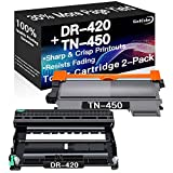 Go4Color Compatible Toner Cartridges & Drum Unit Replacement for Brother DR420 DR-420 TN450 TN-450 Toners use with Brother HL-2240/2270 DCP-7060D MFC-7365DN Printer (1x Drum + 1x Toner, 2-Pack)