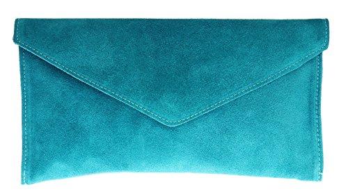 Girly Handbags Mujer Cuero de Gamuza Envelope Clutch Pulsera Piel Auténtica Rígido Bolso bandolera Turquesa