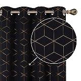 Deconovo Cortina Opaca Modernas con Ollaos Anti-Ruido para Ventanas Salón Habitación Dormitorio 2 Paneles 140x229cm Negro