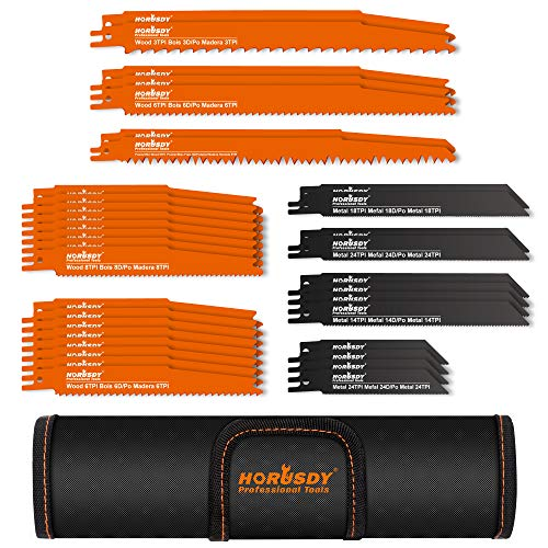 HORUSDY 34-Piece Metal Reciprocating Saw Blade Set & Wood Pruning Reciprocating Saw Blades, Saw Blades