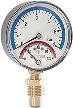 """80mm 6bar 120c termo medidor de presión 1/2""""pulgada de entrada lateral termomanómetro"""