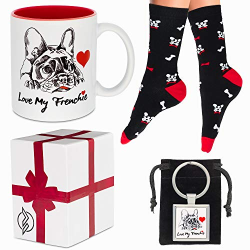 French Bulldog Gifts Set - French Bulldog Socks Mug and Keychain - Great Frenchie Gifts for Women or for Men - Novelty Frenchie Accessories - Lovely Birthday Gift or for Any Special Occasion